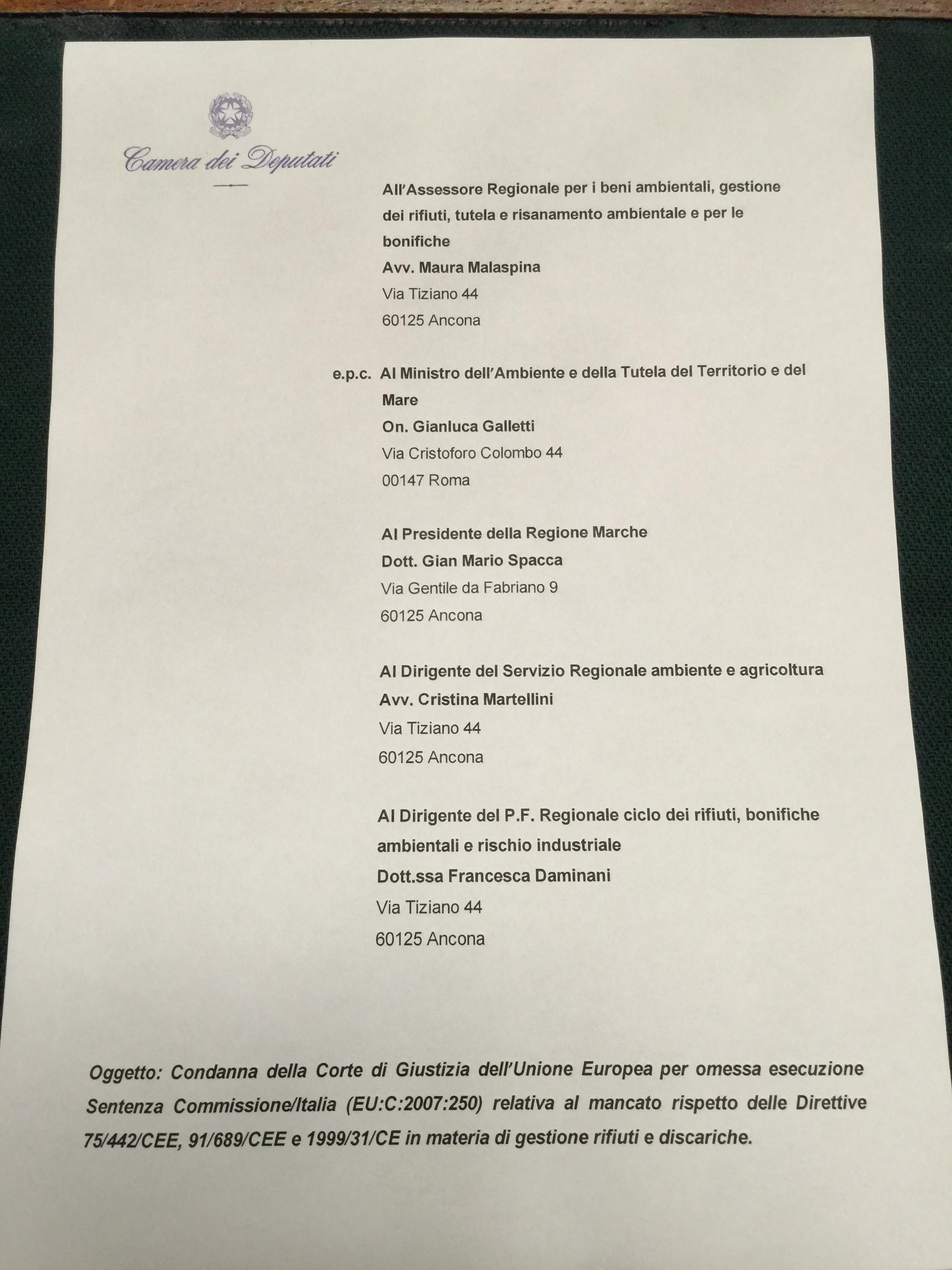 DISCARICA ABUSIVA DI ASCOLI PICENO: LETTERA APERTA A SPACCA E ALL'ASSESSORE MALASPINA