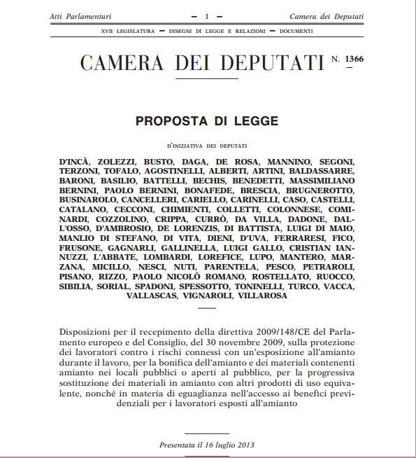 LEGGE SULL'AMIANTO…SOLO IL MOVIMENTO 5 STELLE