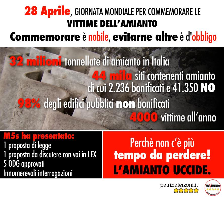 Giornata mondiale in ricordo delle vittime dell'amianto. Commemorare è nobile, evitarne altre è d'obbligo.