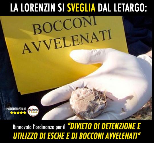 Bocconi avvelenati: La Lorenzin si sveglia dal letargo e rinnova l'ordinanza.